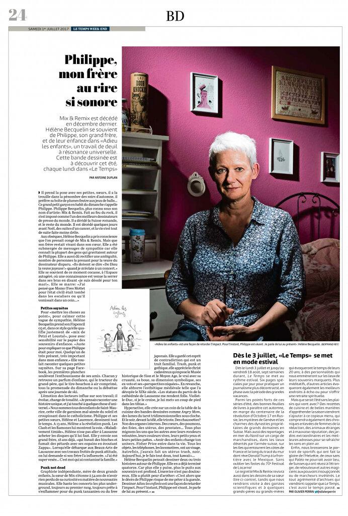 Le Temps, juillet 2017